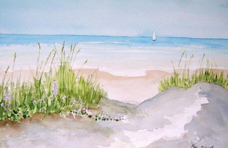 peinture de paysage de bord de mer à l'aquarelle